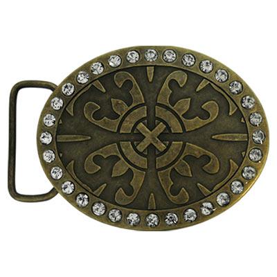 Пряжка декоративная для ремня со стразами в форме овала, в середине пряжки расположен узор.
